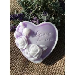 Srdce s růžemi - vůně fialek